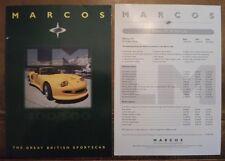 Marcos LM 400 500 COUPE & SPYDER ORIG 1997 UK Mkt opuscolo di vendita + listino prezzi