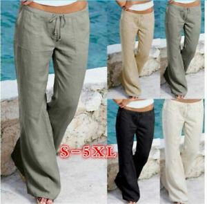 UK Womens Cotton Linen Trousers Ladies Loose Casual Elastic Waist Pants Bottoms