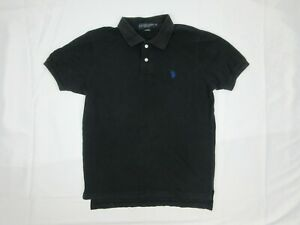 US Polo Assn Mens Polo Shirt Size S Regular Fit Black Blue Embroidered Collar