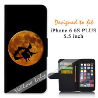 For iPhone 6 PLUS 5.5inch Wallet Flip Case Cover Witch Moon Y00775