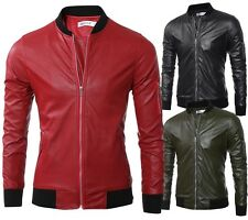 Men's Fashion Casual Coat PU Leather Jacket Sport Baseball Uniform Overcoat Chic
