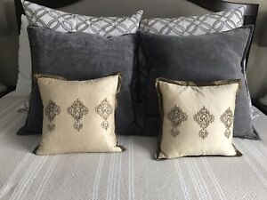 "Ethan Allen Silk Embroidered 12""x12"" Pillows -Set of 2 Beige/Brown Down Insert"