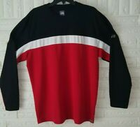 The North Face Thermal Vaporwick Long Sleeve Mens Black Red White Shirt Size XL