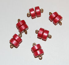 VINTAGE 6 RED LUCITE PLASTIC & BRASS CONNECTOR DOUBLE BARREL BEADS 10mm