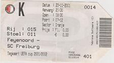 Sammler Used Ticket / Entrada Feyenoord Rotterdam v SC Freiburg 22-11-2001 CL