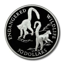Cook Islands Endangered Wildlife Ring-tailed Lemur $50 1992 Proof Silver Crown