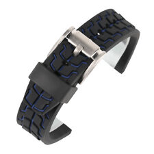 Silicone Waterproof Watch Band Rubber Mens Wrist Strap 20mm 22mm 24mm Watchband