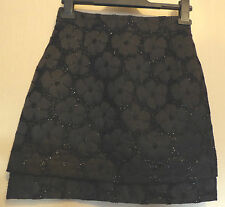 Topshop UK6 EU34 US2 black lined short skirt with glittered floral finish
