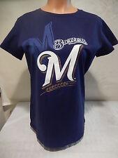 "7801 WOMENS MLB MILWAUKEE BREWERS ""LOGO SHADOW"" Jersey Shirt BLUE LARGE"