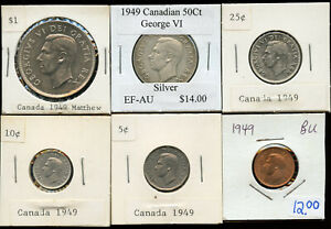 1949 Canada Complete Silver Coin Set with NFLD Commemorative Silver Dollar