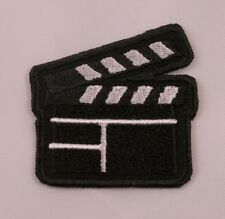 Embroidered Retro Film Clapper Movie Clapboard Emoji Text Patch Applique Iron On