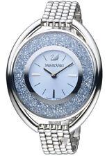 Swarovski Crystalline Blue Crystals Sunray Dial Silver Oval Women Watch 5263904