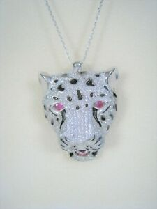 Panther Lion Necklace RUBY & WHITE TOPAZ - White Gold & Enamel-plated 925 SILVER
