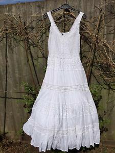 LADIES WOMENS WHITE HIPPY BOHO GYPSY COTTON ROMAN ORIGINALS SUMMER DRESS UK 14