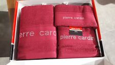 Pierre Cardin Luxury Designer Bethroom 3 pcs Towel Set Capri 101 Burgundy Maroon