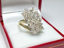 2 Ct Round Sim Diamond 14k Yellow Real Gold Cluster Engagement & Wedding Ring