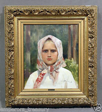 19th Century Russian Oil Painting of Young Girl Signed Ilia Galkin