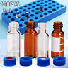 9-425 2ML Sample Vials + Caps Lid Clear/Amber Glass Bottle Vial Screw Top 100pcs