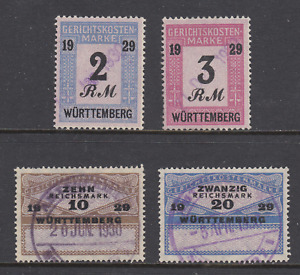 Germany, Wurttemberg 1929 Court Fee revenues, 4 different, used, F-VF.