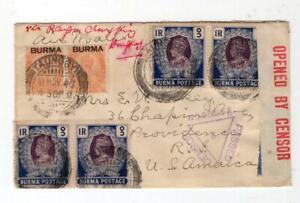 Burma 1940 Censored Cover to the USA - No Reserve!