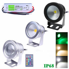 LED Underwater Spot Light RGB Cool Warm Garden Pond Lamp IP68 + 12V 10W Adapter
