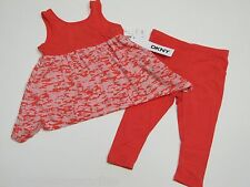 NWT DKNY 2 PC Set  GIRL Salmon Top and Pants $44 18 Months
