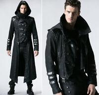 Gothic Mäntel Jacke Steampunk umwandelbar 2 in 1 Kapuze fashion Punkrave Herren