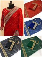 Beautiful Saree Indian Sari Blouse Wear Vintage Bollywood Wedding Silk Fashion