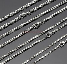 Wholesale Lots Silver Stainless Steel Box Chain Necklace Hot Sell 2mm-3.5mm