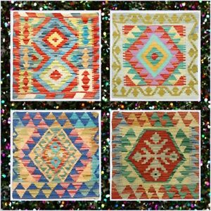 Indian Beautiful Luxury Wool Vintage Oriental Colourful Pure Kilim Cushion Cover