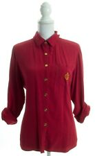 CHARTER CLUB 100% Silk Red & Gold Button Down Shirt Size 4P Petite