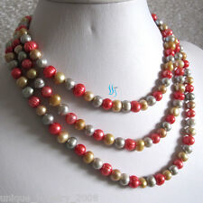 """50"""" 6-8mm Multi Color Freshwater Pearl Necklace Gray Champagne Red Pearl Strand"""
