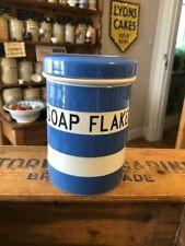Vintage TG Green Cornishware Kitchen Storage Jar / Caddy – Soap Flakes – Rare!