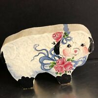 Lamb Figurine Hand Painted Vintage Tole Painting Ribbon Flowers Spring Decor