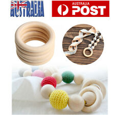 20X 55mm DIY Wooden Teether Teething Ring Natural Untreated Wood Baby Gift