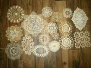Vintage Lot of 17 Doilies ~ Small  Ecru ~ Doll Craft  Repurpose
