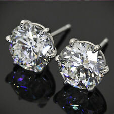 2Ct Round Cut Moissanite Solitaire Earrings Engagement 14K White Gold FN