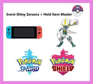 Pokemon Sword & Shield -  Event Shiny Zeraora + Held item Master ball