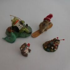 4 figurines miniatures animaux grenouille marmotte abeille ours bougie N4208