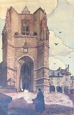 Villefranche de Rouergue Aquarelle signature illisible XIXème début XXème