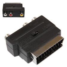 Adaptateur Scart Péritel vers 3 x RCA Switch IN/OUT Mâle Femelle Phono Cinch