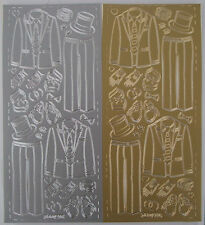 2 sheets of Groom Top and Tails Peel-offs Gold and Silver 4 suits with elements
