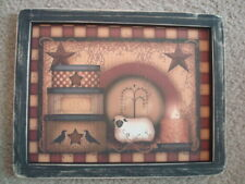 """Primitive Country Print *3-Stacked Boxes with Sheep*  black frame 12"""" x 9 1/2"""""""