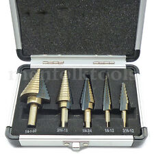5pc Large HSS Cobalt Step Cone Drill Bits Set Hole Cutter Tools W/ Aluminum Case