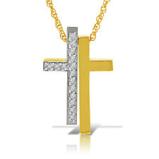 14K Solid White Yellow Gold Split Cross Necklace w/ Natural Diamonds