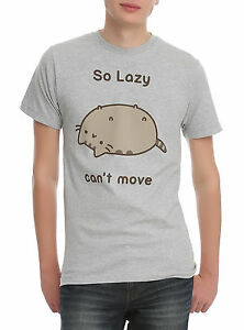 Pusheen The Cat SO LAZY CAN'T MOVE T-Shirt Grey NWT Licensed & Official XXS-3XL