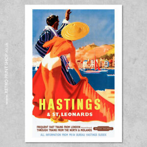 BR Hastings & St Leonards Poster #3 - Railway Posters, Retro Vintage Travel P...