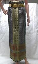 "Thai Traditional Gray Synthetic Silk Fabric for Wedding Sarong /Dress 72 x 40.5"""