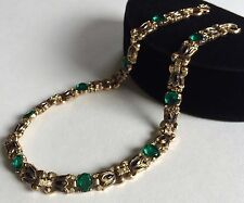 Rare Vintage Trifari Alfred Philippe Necklace~Green Glass/RS/Enamel/Goldtone