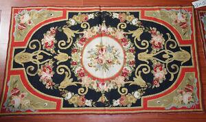 3' X 5' Beautiful Needlepoint Rug French Palace Elegant Rose Garland #38-2